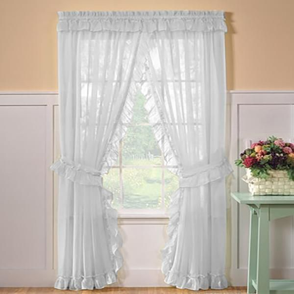 Sheer Priscilla Panel Pair With Attached Valance In 2019 Intended For Elegant White Priscilla Lace Kitchen Curtain Pieces (View 23 of 30)