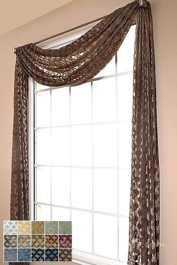 Sheer Swags For Windows – Uknatura For Ivory Micro Striped Semi Sheer Window Curtain Pieces (View 46 of 50)