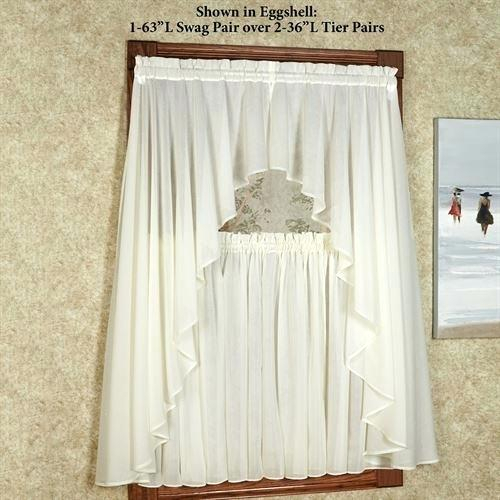 Sheer Swags For Windows – Uknatura Inside Ivory Micro Striped Semi Sheer Window Curtain Pieces (View 19 of 50)