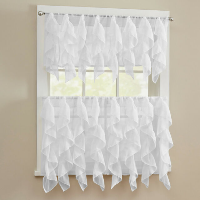Sheer Voile Vertical Ruffle White Window Kitchen Curtain Tiers Or Valance Within Pintuck Kitchen Window Tiers (#33 of 43)