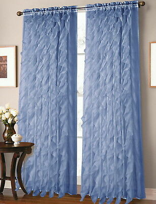 Sheer Voile Vertical Ruffle Window Kitchen Curtain 12 Pertaining To Navy Vertical Ruffled Waterfall Valance And Curtain Tiers (View 11 of 30)