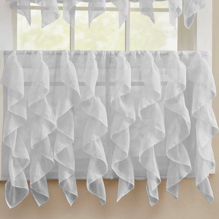 Sheer Voile Vertical Ruffle Window Kitchen Curtain 24 Inch Within Silver Vertical Ruffled Waterfall Valance And Curtain Tiers (View 2 of 50)