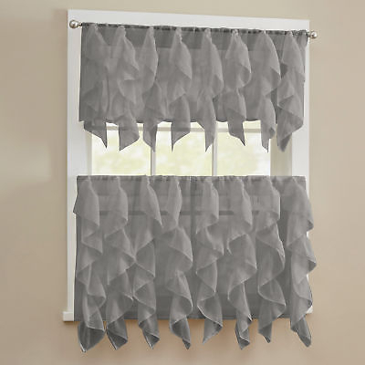 Sheer Voile Vertical Ruffle Window Kitchen Curtain Tiers Or Valance Gray | Ebay Intended For Kitchen Curtain Tiers (View 17 of 50)
