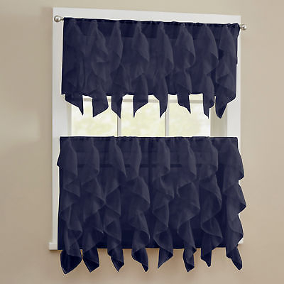 Sheer Voile Vertical Ruffle Window Kitchen Curtain Tiers Or Valance Navy |  Ebay Throughout Chic Sheer Voile Vertical Ruffled Window Curtain Tiers (View 30 of 50)