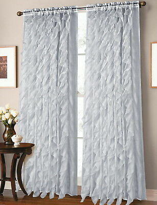 Sheer Voile Vertical Ruffle Window Kitchen Curtain Tiers Or With Silver Vertical Ruffled Waterfall Valance And Curtain Tiers (View 21 of 50)