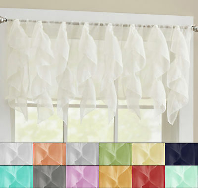 Sheer Voile Vertical Ruffle Window Kitchen Curtain Tiers Or Within Maize Vertical Ruffled Waterfall Valance And Curtain Tiers (View 3 of 30)