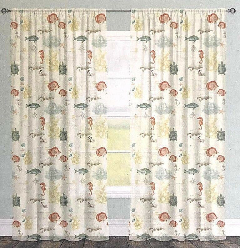 Shells Sea Turtles Nautical Sheer Window Panel Curtains 84 Intended For Coastal Tier And Valance Window Curtain Sets (View 28 of 30)