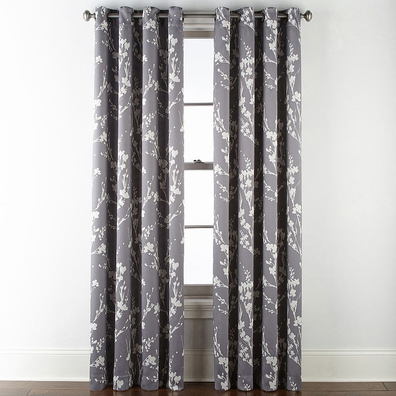 Sheridan Leaf 100% Blackout Grommet Top Curtain Panel Throughout Pastel Damask Printed Room Darkening Kitchen Tiers (#37 of 50)