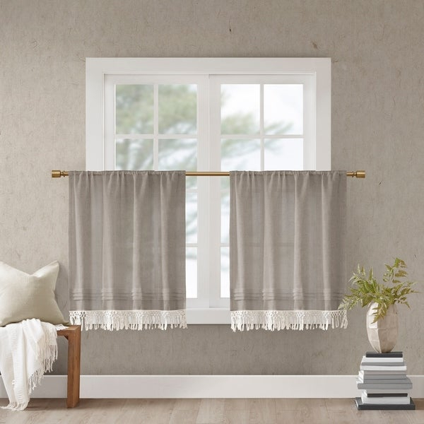 Shop Madison Park Eira Faux Linen Rod Pocket Kitchen Tier Pertaining To Floral Lace Rod Pocket Kitchen Curtain Valance And Tiers Sets (View 41 of 50)