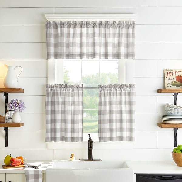 Shop The Gray Barn Emily Gulch Buffalo Check Kitchen Window Within Coffee Drinks Embroidered Window Valances And Tiers (View 36 of 45)