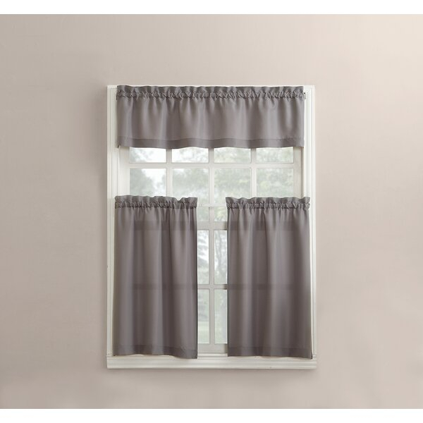 Short Thermal Kitchen Curtains | Wayfair Regarding Spring Daisy Tiered Curtain 3 Piece Sets (View 24 of 30)