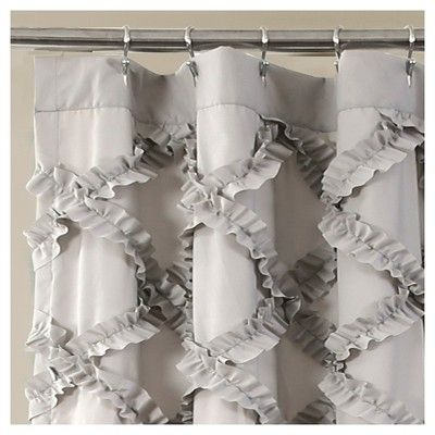Shower Curtain Ruffle Diamond Gray – Lush Decor | Products Inside Silver Vertical Ruffled Waterfall Valance And Curtain Tiers (View 26 of 50)