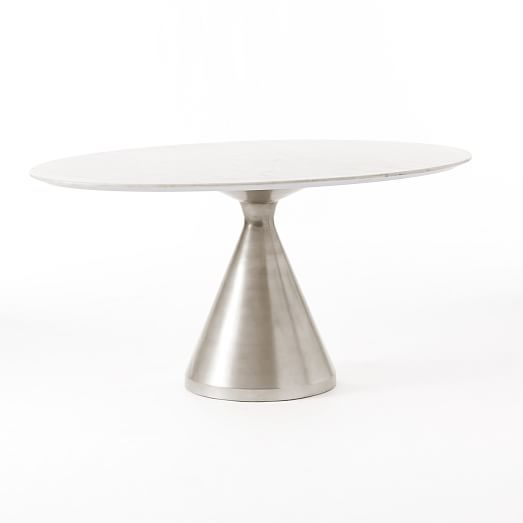 Silhouette Pedestal Dining Table, Oval White Marble Regarding Widely Used Chapman Marble Oval Dining Tables (View 8 of 30)