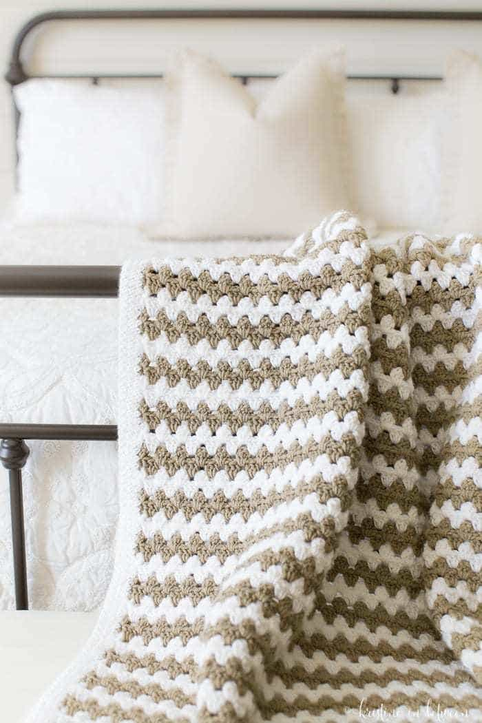 Simple Granny Stripe Afghan | Kristine In Between Pertaining To Cotton Classic Toast Window Pane Pattern And Crotchet Trim Tiers (View 37 of 50)