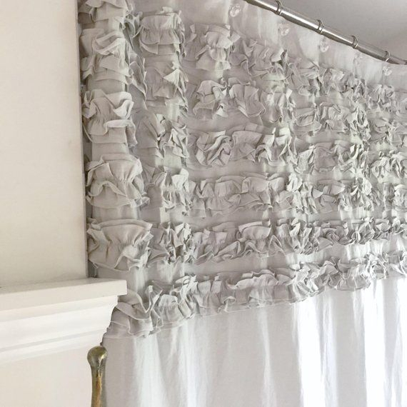 Six Ruffle Linen Shower Curtain, Linen Bathroom Curtain For Silver Vertical Ruffled Waterfall Valance And Curtain Tiers (View 38 of 50)