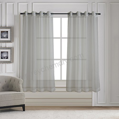 Sleek Sheer Voile Panels Solid Window Curtain Draperies For With Regard To Cotton Blend Grey Kitchen Curtain Tiers (View 44 of 47)