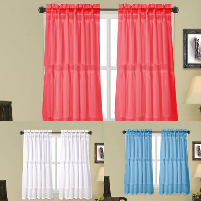 Small Multilayers Voile Sheer Fabric Half Window Curtain Within Elegant Crushed Voile Ruffle Window Curtain Pieces (View 41 of 45)