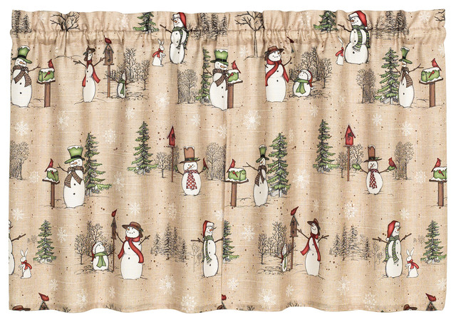 """Snowman Land Tier Curtains, Set Of 2, 57""""x36"""" Throughout Seabreeze 36 Inch Tier Pairs In Ocean (View 29 of 30)"""