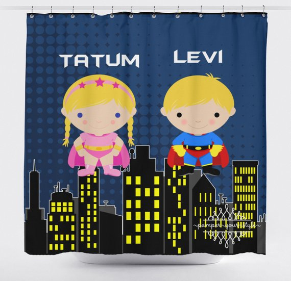 So Einzigartig! Super Hero Shower Curtain – Superheroes In Grandin Curtain Valances In Black (View 26 of 30)