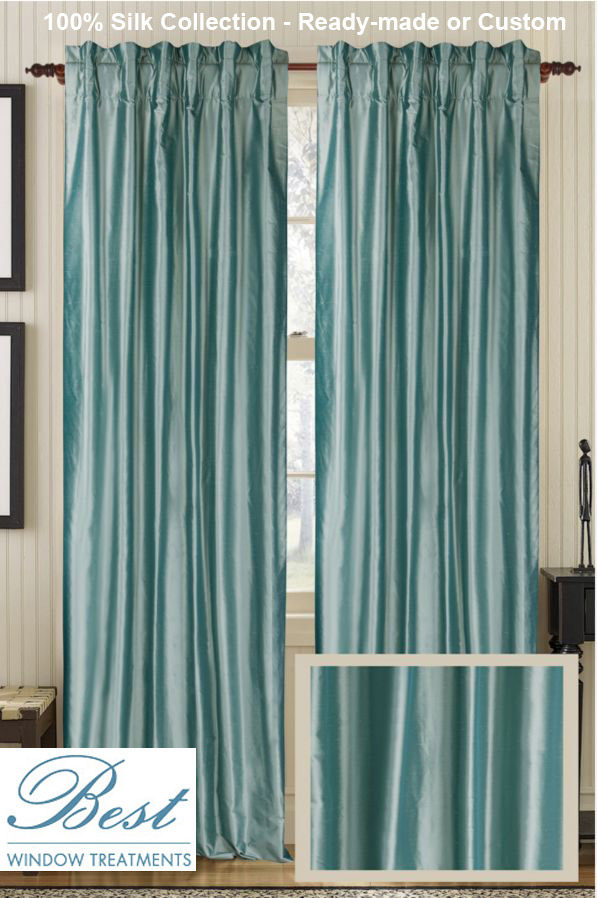 Solid Silk Curtain Panel :ready Made Or Custom | Best Window Treatments Within Luxury Collection Kitchen Tiers (#43 of 50)