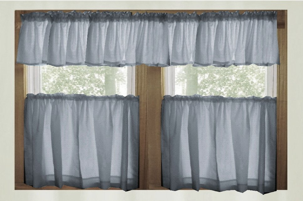 Solid Wedgewood Blue Café Style Tier Curtain (Includes 2 Valances And 2  Kitchen Curtain Panels In Many Custom Lengths) Pertaining To Tailored Valance And Tier Curtains (#35 of 50)