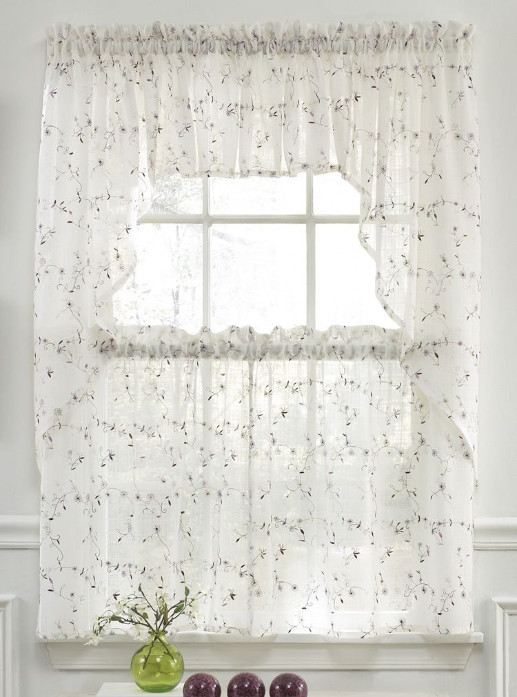 Somerset Curtains Are A Soft And Supple Semi Sheer Georgette Pertaining To Floral Embroidered Sheer Kitchen Curtain Tiers, Swags And Valances (View 41 of 50)