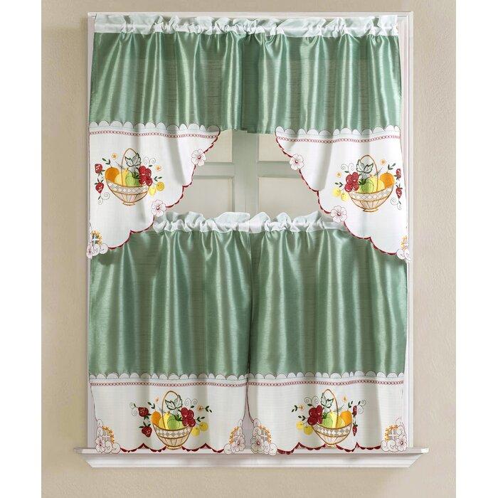 Popular Photo of Faux Silk 3 Piece Kitchen Curtain Sets