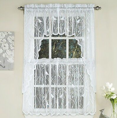 Songbird Sheer Lace Kitchen Curtains White – Tiers, Swags In Sheer Lace Elongated Kitchen Curtain Tier Pairs (#25 of 30)