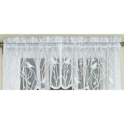 Songbirds Lace White Kitchen Curtain Valance Birds 748779010218 | Ebay Inside White Knit Lace Bird Motif Window Curtain Tiers (View 38 of 50)