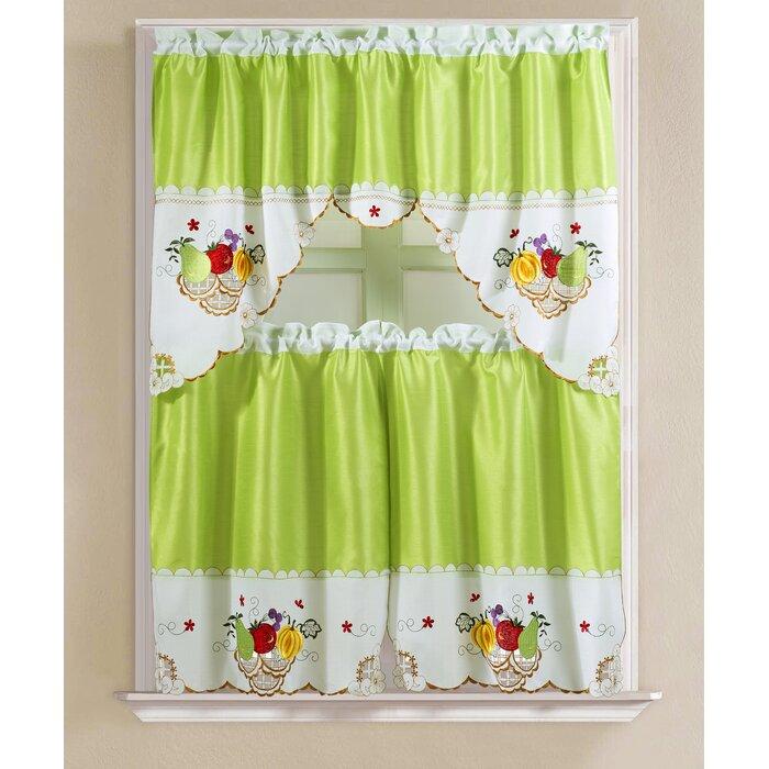 "Soper Faux Silk 3 Piece 60"" Kitchen Curtain Set Pertaining To Faux Silk 3 Piece Kitchen Curtain Sets (View 36 of 44)"