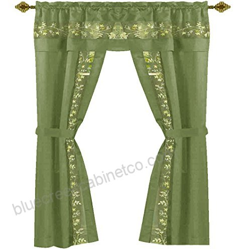 Sophisticated Rich Floral Embroidered Silk Feel 5 Piece In Embroidered Floral 5 Piece Kitchen Curtain Sets (View 26 of 30)