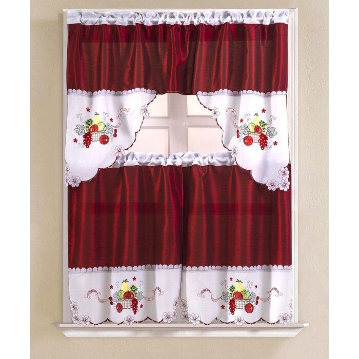"Soriano Apple Faux Silk 3 Piece 60"" Kitchen Curtain Set For Faux Silk 3 Piece Kitchen Curtain Sets (View 37 of 44)"