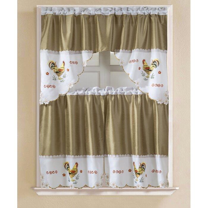 "Sorrentino Faux Silk 3 Piece 60"" Kitchen Curtain Set For Faux Silk 3 Piece Kitchen Curtain Sets (View 38 of 44)"