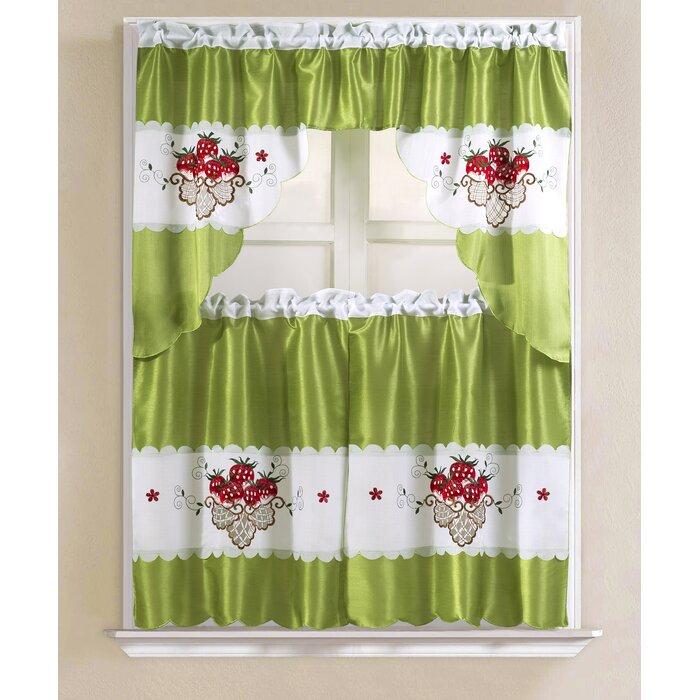 "Sosa Faux Silk 3 Piece 60"" Kitchen Curtain Set Pertaining To Faux Silk 3 Piece Kitchen Curtain Sets (View 39 of 44)"