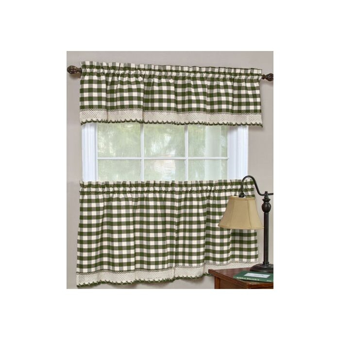 Souri Gingham Curtain Valance And Tier Set In Semi Sheer Rod Pocket Kitchen Curtain Valance And Tiers Sets (View 14 of 30)