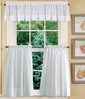 Striped Semi Sheer Tailored Valance | Window Ideas Pertaining To Tailored Valance And Tier Curtains (#36 of 50)