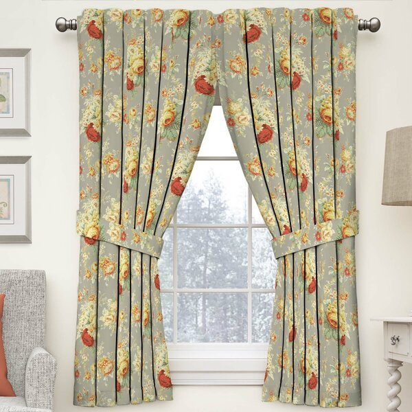 Style Sanctuary Curtains Brown   Wayfair Regarding Floral Watercolor Semi Sheer Rod Pocket Kitchen Curtain Valance And Tiers Sets (View 44 of 50)
