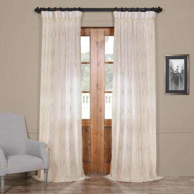 Suez Natural Ivory Embroidered Faux Linen Sheer Curtain – 50 In. W X 120  In (View 42 of 45)