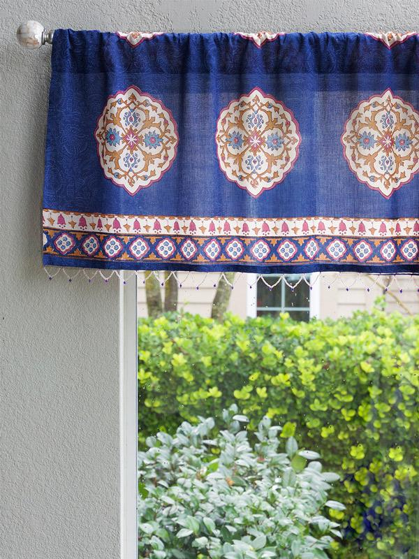 Sultans Palace ~ Royal Blue Moroccan Medallion Window Valance For Medallion Window Curtain Valances (#39 of 48)