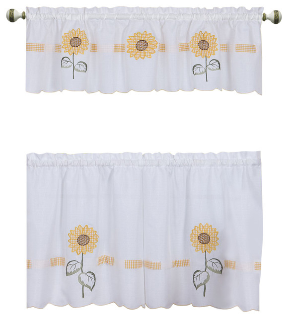 """Sun Blossoms Embellished Tier And Valance Window Curtain Set, 56""""x36"""", Multi Throughout Sunflower Cottage Kitchen Curtain Tier And Valance Sets (#37 of 50)"""