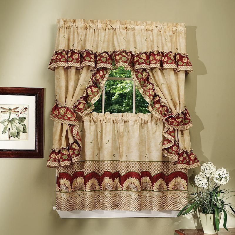 Sunflower 5 Piece Swag Tier Cottage Kitchen Window Curtain With Regard To Sunflower Cottage Kitchen Curtain Tier And Valance Sets (#38 of 50)