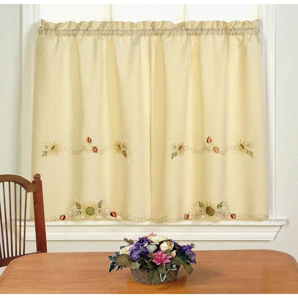 Sunflower Cafe Curtains | Wayfair Intended For Coffee Drinks Embroidered Window Valances And Tiers (View 38 of 45)