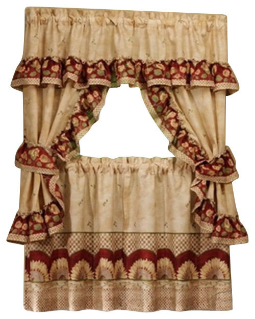 """Sunflower Cottage Set – 57""""x36"""" Tier Pair/57""""x36"""" Ruffled Topper, Antique Intended For Sunflower Cottage Kitchen Curtain Tier And Valance Sets (#40 of 50)"""