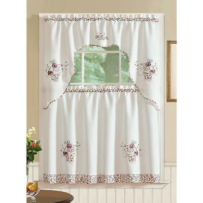 Sunflower Cream Embroidered Kitchen Curtains – Tiers Valance In Embroidered Ladybugs Window Curtain Pieces (View 35 of 50)
