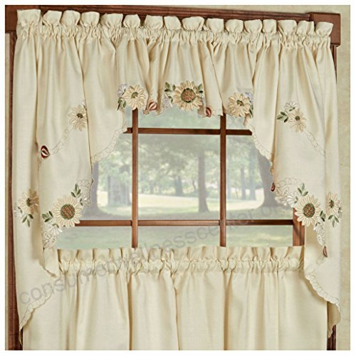 Sunflower Cream Embroidered Kitchen Curtains – Tiers Valance Intended For Coffee Embroidered Kitchen Curtain Tier Sets (View 25 of 30)