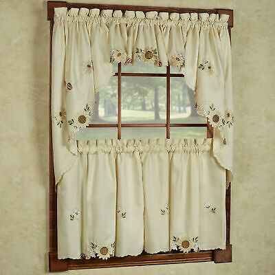 Sunflower Cream Embroidered Kitchen Curtains – Tiers Valance Or Swag | Ebay Pertaining To Semi Sheer Rod Pocket Kitchen Curtain Valance And Tiers Sets (View 28 of 30)