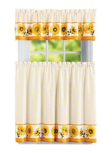 Sunflower Curtain Zoom In In 2019 | Sunflower Kitchen Inside Sunflower Cottage Kitchen Curtain Tier And Valance Sets (#41 of 50)
