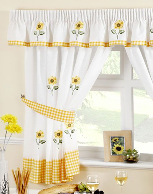 Sunflower Kitchen Curtain | Kitchen Curtains, Curtains Uk In Embroidered Chef Black 5 Piece Kitchen Curtain Sets (View 31 of 42)