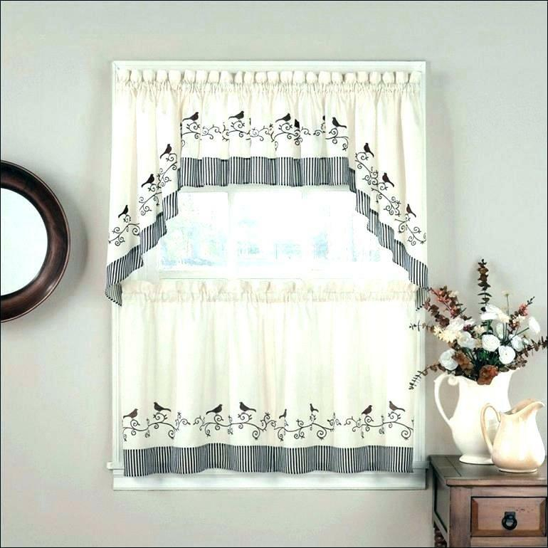 Popular Photo of Floral Watercolor Semi Sheer Rod Pocket Kitchen Curtain Valance And Tiers Sets