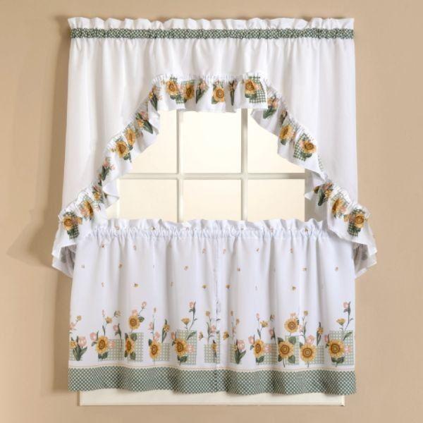 Sunflower Tier Curtains Set | Sunflower Kitchen | Kitchen In Sunflower Cottage Kitchen Curtain Tier And Valance Sets (#49 of 50)